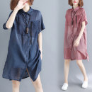 Women's large Summer of 2019 Red, blue Average size [110-210kg] shirt singleton  commute easy thin Cardigan Short sleeve stripe Korean version Polo collar Medium length Polyester, others routine Other / other 81% (inclusive) - 90% (inclusive) Medium length