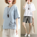 Women's large Summer of 2019 White, light blue Large average size [100-200kg] T-shirt singleton  commute easy thin Socket Short sleeve Cartoon animation Korean version Crew neck routine cotton routine Other / other Embroidery 81% (inclusive) - 90% (inclusive)