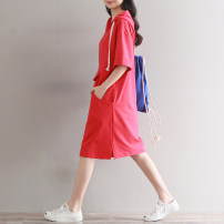 Dress Summer of 2019 Red, Navy Mid length dress singleton  Short sleeve commute Hood Loose waist Solid color Socket A-line skirt routine Others Type A Other / other literature pocket 81% (inclusive) - 90% (inclusive) other cotton