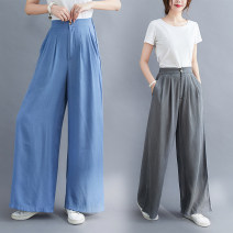 Women's large Summer 2020 Blue, premium grey S [85-100 Jin], m [100-115 Jin], l [115-130 Jin], XL [130-145 Jin], XXL [145-165 Jin] trousers singleton  commute easy thin Solid color Korean version cotton fold Other / other 25-29 years old pocket 71% (inclusive) - 80% (inclusive) trousers