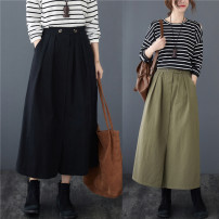 Women's large Winter 2020, autumn 2020 Army green, black Average size [recommended 95-155 kg] skirt singleton  commute easy moderate Solid color Korean version cotton Make old pocket 71% (inclusive) - 80% (inclusive) Medium length
