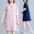 Dress Summer of 2019 Dark blue, pink L [100-140 Jin], XL [140-180 Jin] Middle-skirt singleton  Short sleeve commute Doll Collar Loose waist Solid color Socket A-line skirt routine Others Type A Other / other Korean version Splicing, mesh 71% (inclusive) - 80% (inclusive) other cotton