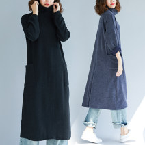 Women's large Winter 2020, autumn 2020 Blue, black Dress singleton  commute easy thick Socket Long sleeves Solid color Korean version High collar cotton Three dimensional cutting routine Other / other 25-29 years old pocket 51% (inclusive) - 70% (inclusive) Medium length