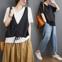 Women's large Summer 2020 White, black L [95-120 kg], XL [120-140 kg], XXL [140-180 kg] T-shirt Fake two pieces commute easy moderate Socket Short sleeve stripe Korean version Crew neck routine cotton Collage routine Other / other Bandage 51% (inclusive) - 70% (inclusive)