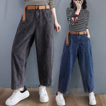 Jeans Winter 2020 Dark blue, smoky grey M [recommended 95-120 kg], l [recommended 120-140 kg], XL [recommended 140-170 kg] trousers High waist Haren pants routine 25-29 years old Old, washed Cotton denim Dark color Other / other 81% (inclusive) - 90% (inclusive)