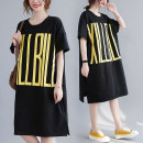 Dress Summer 2021 black L [recommended 100-130 kg], XL [recommended 130-170 kg], XXL [recommended 170-200 kg] Mid length dress singleton  Short sleeve commute Crew neck Loose waist letter Socket A-line skirt routine Others 25-29 years old Type A Other / other Korean version printing other cotton