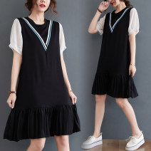 Dress Summer 2021 black L [recommended 95-120 kg], XL [recommended 120-140 kg], XXL [recommended 140-170 kg] Mid length dress singleton  Short sleeve commute Crew neck Loose waist Solid color Socket Pleated skirt routine Others 25-29 years old Type A Other / other Korean version Splicing other cotton