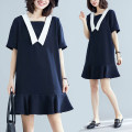 Women's large Summer 2020 Navy Blue L [100-150 Jin], XL [150-200 Jin] Dress singleton  commute easy moderate Socket Short sleeve Solid color Korean version Admiral cotton Collage routine Other / other zipper 51% (inclusive) - 70% (inclusive) Middle-skirt Ruffle Skirt zipper