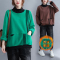 Women's large Winter 2020, autumn 2020 Brown, green Sweater / sweater singleton  commute easy thickening Socket Long sleeves Stripe, solid color Korean version High collar routine cotton Collage routine Other / other pocket 51% (inclusive) - 70% (inclusive)