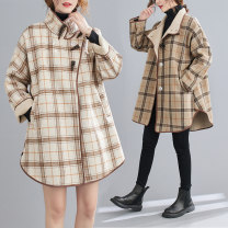 woolen coat Winter 2020 polyester 31% (inclusive) - 50% (inclusive) Medium length Long sleeves commute Ox horn buckle Bat sleeve stand collar lattice Straight cylinder Korean version Other / other Pockets, stitching Solid color cotton Imitation fabric
