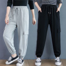 Women's large Winter 2020, autumn 2020 Gray, black XL [recommended 100-145 kg], XXL [recommended 145-190 kg] trousers singleton  commute easy thickening Solid color Korean version cotton Three dimensional cutting Other / other pocket 51% (inclusive) - 70% (inclusive) trousers