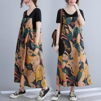 Dress Summer 2021 Picture color M [recommended 100-130 kg], l [recommended 130-155 kg], XL [recommended 155-180 kg] longuette singleton  Sleeveless commute One word collar Loose waist Decor Socket A-line skirt Others 25-29 years old Type A Other / other literature pocket other cotton