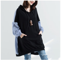 Women's large Autumn of 2018 black Sweater / sweater Fake two pieces commute easy moderate Socket Long sleeves Stripe, solid color literature Hood Medium length cotton Collage Bat sleeve Other / other 25-29 years old 71% (inclusive) - 80% (inclusive)