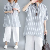 Women's large Summer of 2018 Grey Stripe Average size [100-200kg] shirt singleton  commute easy moderate Socket Short sleeve stripe literature V-neck Medium length Cotton, hemp Three dimensional cutting routine Other / other 81% (inclusive) - 90% (inclusive)