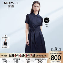 Dress Spring 2021 Dark ultramarine blue 36/S 38/M 40/L 42/XL 44/XXL Mid length dress singleton  Long sleeves commute other High waist Solid color zipper A-line skirt routine Others 35-39 years old Type A NEXY.CO/ Naikou Simplicity More than 95% cotton Cotton 100%