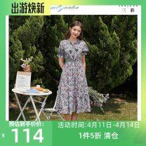 Dress Summer 2020 violet 150/76A/XS,170/92A/XL,165/88A/L,175/96A/XXL,155/80A/S,160/84A/M Mid length dress singleton  Short sleeve commute V-neck Elastic waist Broken flowers Socket A-line skirt pagoda sleeve 25-29 years old Type X Tricolor lady Bow, print D024023L20 More than 95% polyester fiber