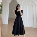 Dress Summer 2021 black S M L XL Mid length dress singleton  Short sleeve commute square neck High waist Solid color zipper other 18-24 years old Eshen / Yishen Retro ESHEN45687 More than 95% polyester fiber Polyester 100% Pure e-commerce (online only)