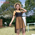 Dress Summer of 2019 Yellow brown S M L XL Middle-skirt Two piece set Short sleeve street Crew neck middle-waisted stripe Socket routine camisole 18-24 years old Type H Ailian Splicing 1824TJ87A251 51% (inclusive) - 70% (inclusive) other polyester fiber Sports & Leisure