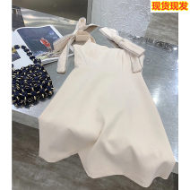 Dress Summer 2021 Apricot, apricot 2 S,M,L Short skirt singleton  Sleeveless commute One word collar High waist Solid color zipper A-line skirt puff sleeve camisole 25-29 years old Type A Other / other Korean version 81% (inclusive) - 90% (inclusive) Chiffon cotton