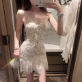 Dress Summer 2021 Off white S,M,L Short skirt singleton  Sleeveless commute V-neck High waist Solid color Single breasted A-line skirt puff sleeve camisole 25-29 years old Type A Other / other Korean version More than 95% Lace cotton
