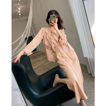 Women's large Spring 2021, summer 2021 Champagne, black Dress Two piece set commute Straight cylinder thin Socket Long sleeves Solid color Korean version Medium length polyester Collage routine 9966-1 Ouwei Pavilion 25-29 years old pocket longuette
