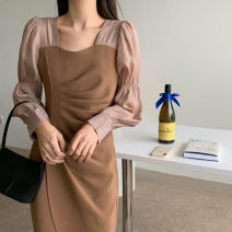 Dress Spring 2021 Black, Khaki Mid length dress singleton  Long sleeves commute square neck middle-waisted Solid color other shirt sleeve Others 25-29 years old Screen printing other polyester fiber