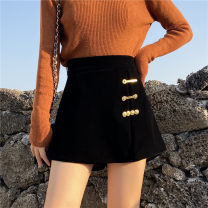 Casual pants black M,L,XL,2XL,3XL,4XL Winter of 2019 shorts Wide leg pants High waist Versatile thickening 91% (inclusive) - 95% (inclusive) other zipper