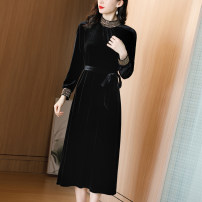 Dress Autumn 2020 black M L XL 2XL Mid length dress singleton  Long sleeves commute Crew neck middle-waisted Solid color Socket Big swing routine Others 30-34 years old Phoenix Color lady YSS-L030 91% (inclusive) - 95% (inclusive) polyester fiber Pure e-commerce (online only)