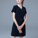 Dress Summer 2021 Black Navy S M L XL 2XL Mid length dress singleton  Short sleeve commute V-neck middle-waisted Solid color routine 25-29 years old Phoenix Color Ol style YSS-L017 51% (inclusive) - 70% (inclusive) polyester fiber Pure e-commerce (online only)
