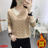 sweater Autumn 2020 S,M,L,XL,2XL,3XL Long sleeves Socket singleton  Regular other 31% (inclusive) - 50% (inclusive) V-neck thickening Sweet routine Solid color Straight cylinder Fine wool Keep warm and warm Qimurong