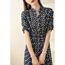 Dress Summer 2021 Blue S,M,L,XL Mid length dress singleton  three quarter sleeve commute V-neck High waist lattice other other other Other / other Button, button More than 95% Chiffon other