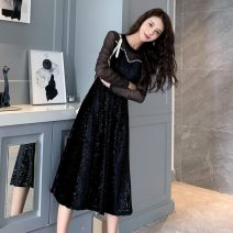 Dress Autumn 2020 black S,M,L,XL,2XL,3XL Mid length dress singleton  Long sleeves commute Crew neck Elastic waist Solid color Socket A-line skirt routine Others 25-29 years old Type A Retro Hollowed out, stitched and beaded 81% (inclusive) - 90% (inclusive) velvet