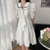 Dress Spring 2021 White light blue S M L Middle-skirt commute 18-24 years old Coachfellow Korean version More than 95% other Other 100% Pure e-commerce (online only)