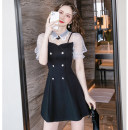 Dress Summer 2021 black S,M,L,XL,2XL Short skirt singleton  Short sleeve commute Doll Collar middle-waisted Solid color zipper A-line skirt puff sleeve Others 18-24 years old Type A Korean version