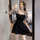 Dress Summer 2021 black S,M,L,XL,XXL Short skirt singleton  Short sleeve commute One word collar High waist lattice zipper A-line skirt puff sleeve camisole 18-24 years old Type A Other / other Korean version Bow tie, zipper, lace up other other