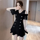 Dress Summer 2021 Black (belt for collection) S,M,L,XL,XXL Short skirt singleton  Short sleeve commute V-neck High waist Solid color zipper Ruffle Skirt raglan sleeve Others 18-24 years old Type A Other / other Korean version Backless, stitching, buttons, zippers, lace other other