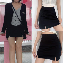 skirt Summer 2021 S,M,L black Short skirt street High waist A-line skirt Solid color 18-24 years old 51% (inclusive) - 70% (inclusive) cotton Europe and America