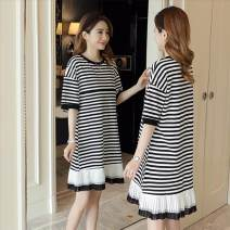 Dress Summer of 2018 Black, striped M,L,XL,XXL Miniskirt singleton  elbow sleeve commute Crew neck Loose waist stripe other A-line skirt routine Others 18-24 years old Type A Tagkita / she and others 91% (inclusive) - 95% (inclusive) brocade cotton