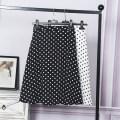 skirt Summer 2021 S,M,L,XL,2XL Black, white Mid length dress commute High waist A-line skirt Dot Type A 18-24 years old More than 95% Chiffon Ocnltiy hemp Zipper, print Korean version