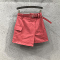 skirt Summer 2021 S,M,L,XL,2XL White, watermelon red Short skirt commute High waist A-line skirt Solid color Type A 25-29 years old Y1H1999 More than 95% Denim Ocnltiy cotton Asymmetry , pocket , chain Korean version