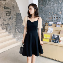 Dress Summer 2020 black S,M,L,XL,2XL Short skirt singleton  Short sleeve commute V-neck High waist Solid color zipper Big swing Flying sleeve 18-24 years old Type A Other / other Korean version Splicing 81% (inclusive) - 90% (inclusive) other other