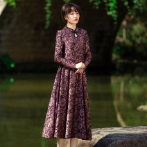 Dress Spring 2020 violet S,M,L,XL,2XL,3XL longuette singleton  Long sleeves commute stand collar middle-waisted Decor A button Big swing routine Others Type X Skirt dancing ethnic style Pocket, panel, button, zipper More than 95% Lace nylon
