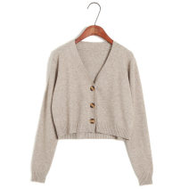 Wool knitwear Autumn of 2019 Average size Black, green, yellow, gray, apricot, beige, dark red, pink, pink Long sleeves singleton  Cardigan other 31% (inclusive) - 50% (inclusive) have cash less than that is registered in the accounts Thin money commute easy V-neck routine Solid color Single breasted