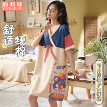 Nightdress Yu Zhaolin 160(M) 165(L) 170(XL) 175(XXL) 180XXXL Sweet Short sleeve Leisure home Middle-skirt summer Cartoon animation youth V-neck cotton printing More than 95% pure cotton PYZL6001 200g and below Spring 2021 Cotton 100% Same model in shopping mall (sold online and offline)