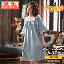 Nightdress Yu Zhaolin 160M 165L 170XL 175XXL 180XXXL girl Short sleeve Leisure home Middle-skirt summer Solid color youth Small lapel cotton bow More than 95% pure cotton 200g and below Spring 2021 Cotton 100% Same model in shopping mall (sold online and offline)
