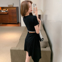 Dress Summer 2021 black S,M,L,XL Short skirt singleton  Short sleeve commute Crew neck middle-waisted Solid color Socket Irregular skirt routine Others 18-24 years old Type X Korean version Ruffle, inlaid with diamond, stitching, asymmetric