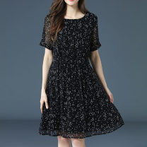 Dress Summer of 2019 black M L XL 2XL 3XL 4XL 5XL Middle-skirt singleton  Short sleeve commute Crew neck High waist Broken flowers zipper Pleated skirt routine Others 35-39 years old Type H Gege auspicious Retro Bow tie print More than 95% Chiffon polyester fiber Polyester 98% other 2%