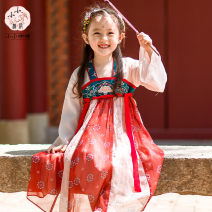 Hanfu nation 2, 3, 4, 5, 6, 7, 8, 9, 10 years old Chiffon Chinese style female gules Bayouke 90,100,110,120,130,140