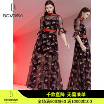 Dress Winter 2020 Black pattern S/34 M/36 L/38 XL/40 longuette singleton  elbow sleeve Crew neck High waist other zipper Pleated skirt pagoda sleeve 25-29 years old Type A bcvoga Splicing NC009TB1061 More than 95% other polyester fiber Polyester 100%