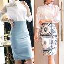skirt Summer 2021 XXS,XS,S,M,L,XL,2XL White, light blue, black, light yellow, pink, red, totem decor Middle-skirt commute High waist skirt Solid color Type H Js-815 skirt Chao Liu zipper Korean version